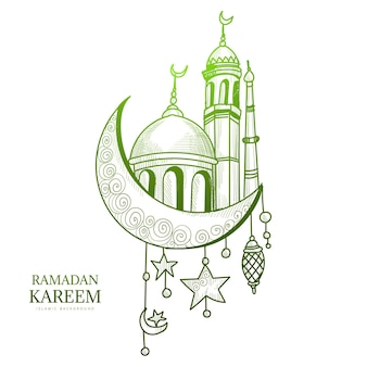 Beautiful hand draw sketch ramadan kareem card