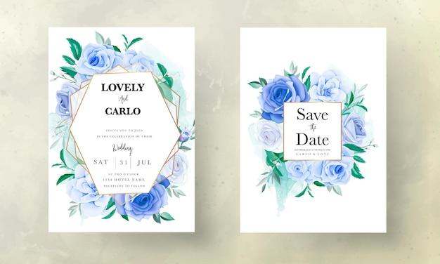 Красивый ручной рисунок синий цветок свадебное приглашение