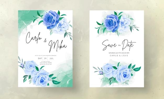 青い花の結婚式の招待カードを描く美しい手描き