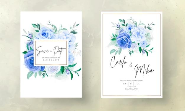 아름다운 손으로 그리는 푸른 꽃 청첩장