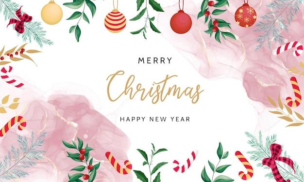 아름다운 손 그리기 꽃 메리 크리스마스 배경 디자인