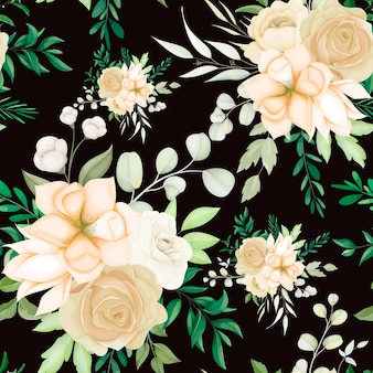 Beautiful hand drawing floral seamless pattern