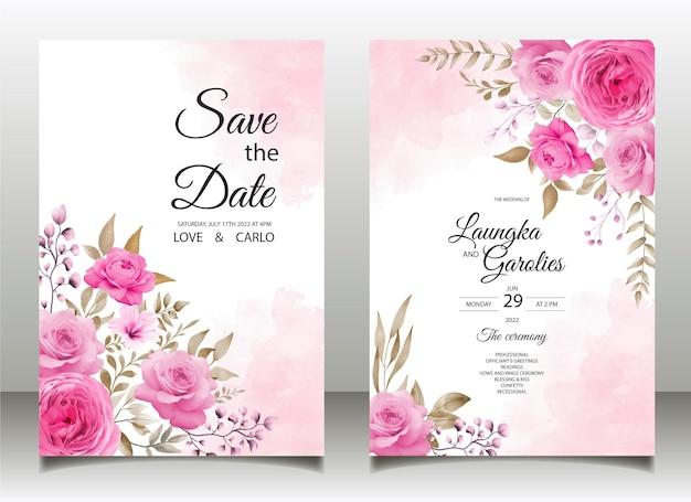 美しい手描き花の結婚式の招待状とメニューテンプレート無料