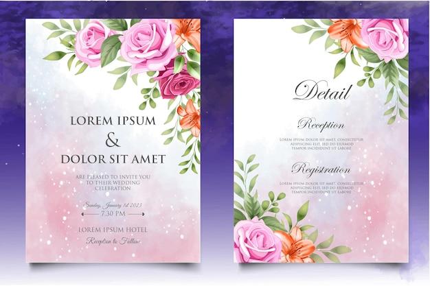 Красивая рука рисунок цветочные свадебные приглашения шаблон