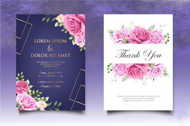 花の結婚式の招待状のテンプレートを描く美しい手描き