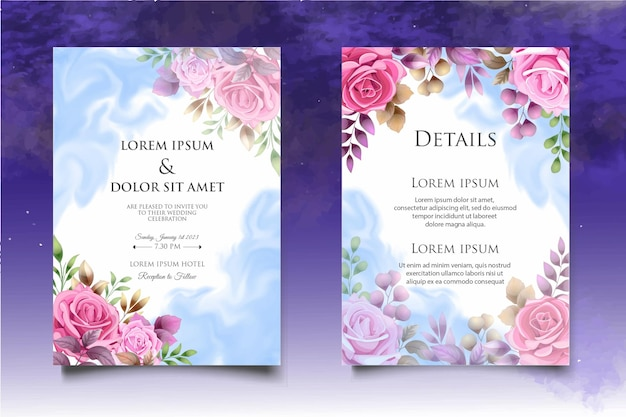 아름 다운 손 그리기 꽃 결혼식 초대장 서식 파일