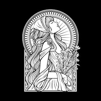 黒と白の女性の美しい手描き線画