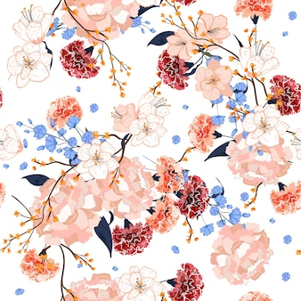 Beautiful hand drawing seamless pattern Blooming florals