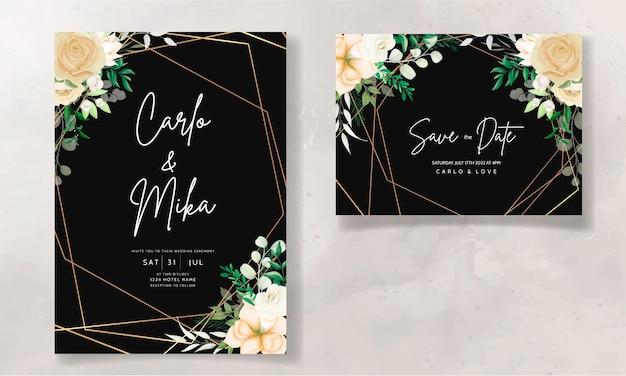 美しい手描きの柔らかい花の結婚式の招待状セットテンプレート