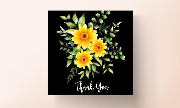 Beautiful hand drawing watercolor flower wedding invitation card