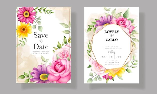 美しい手描き水彩花の結婚式の招待カード