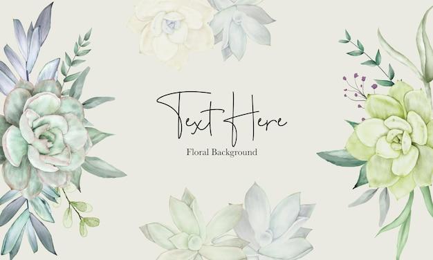 美しい手描き水彩多肉植物と花の背景テンプレート