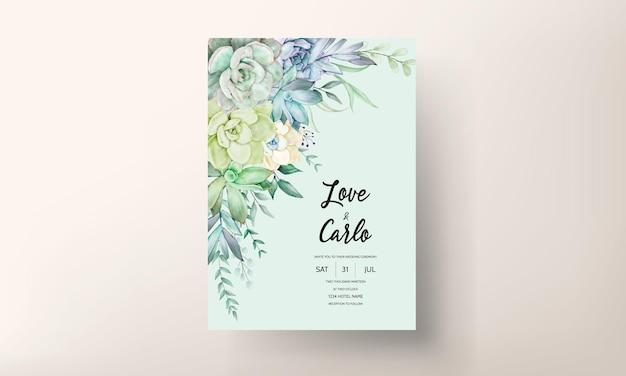 Красивая рука рисунок акварель сочные растения и цветок свадебное приглашение шаблон
