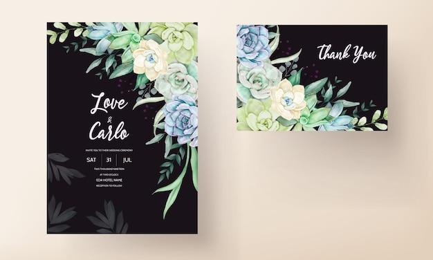아름다운 손으로 그리는 수채화 즙이 많은 식물과 꽃 청첩장 템플릿