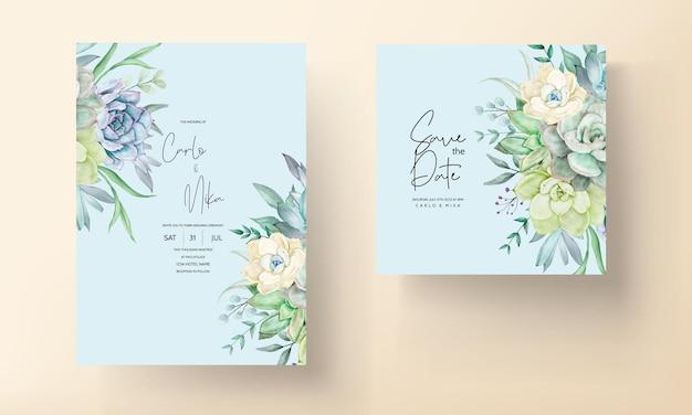 美しい手描きの水彩多肉植物と花の結婚式の招待状のテンプレート