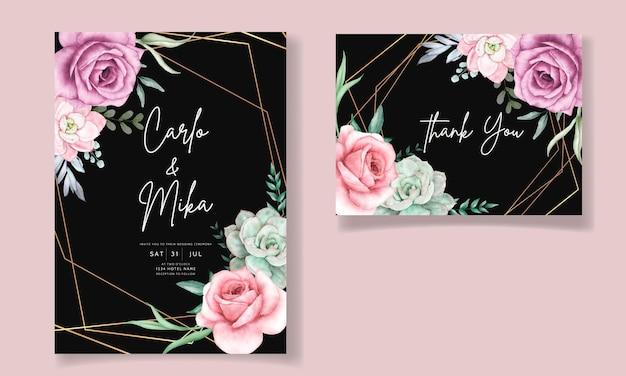 Красивый ручной рисунок акварель суккулент и роза цветок свадебное приглашение шаблон