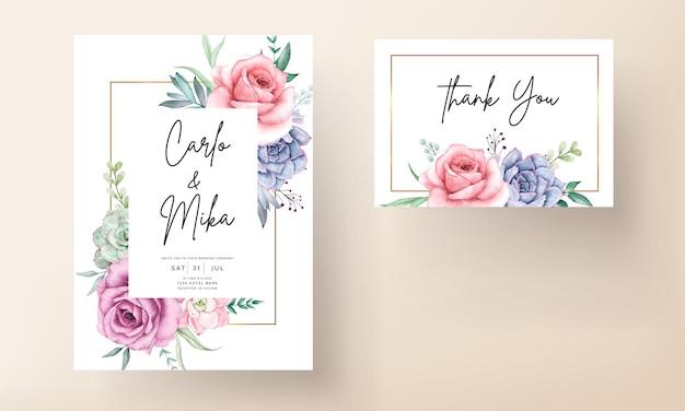 美しい手描きの水彩多肉植物とバラの花の結婚式の招待状のテンプレート