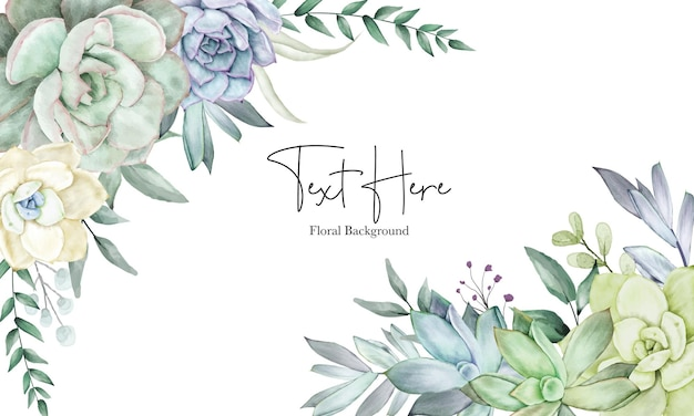 Beautiful hand drawing watercolor succulent plant and flower background template