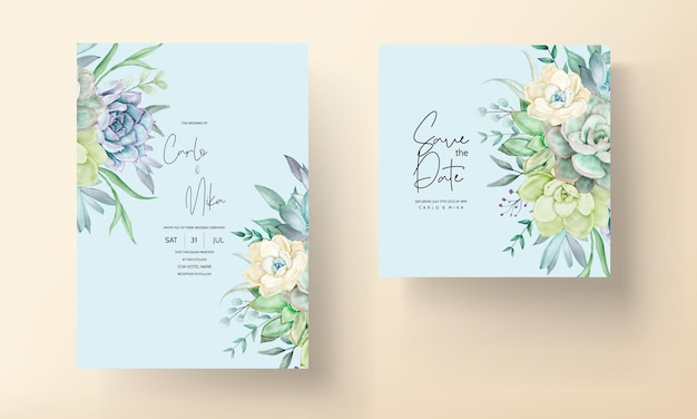 Beautiful hand drawing watercolor succulent plant and flower wedding invitation template