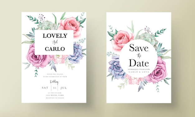 Beautiful hand drawing watercolor succulent plant and rose flower wedding invitation template