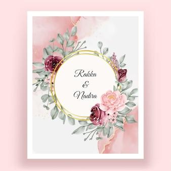 아름 다운 손 그리기 결혼식 꽃 초대장
