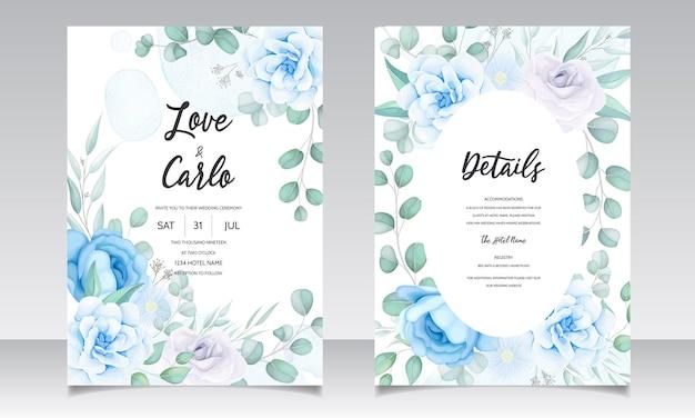 美しい手描きの結婚式の招待状青い花柄