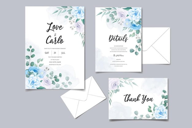 Beautiful hand drawing wedding invitation blue floral design