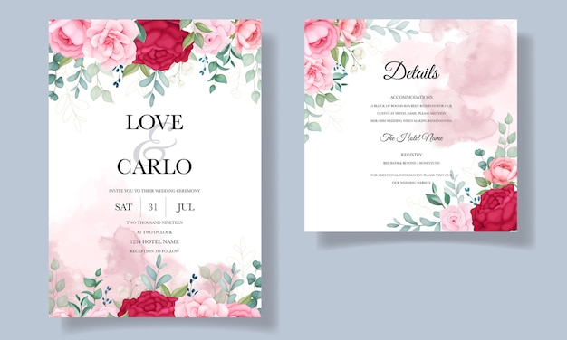 Beautiful hand drawing wedding invitation floral card template