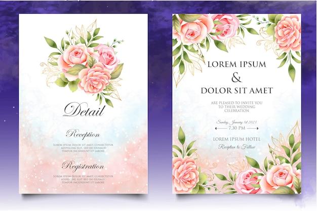 아름 다운 손 그리기 청첩장 꽃 디자인 서식 파일