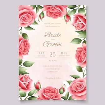 美しい手描きの結婚式の招待状の花柄