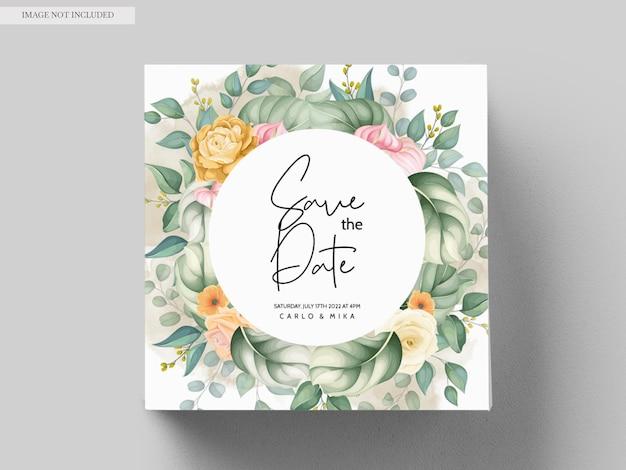 아름 다운 손 그리기 청첩장 꽃 디자인