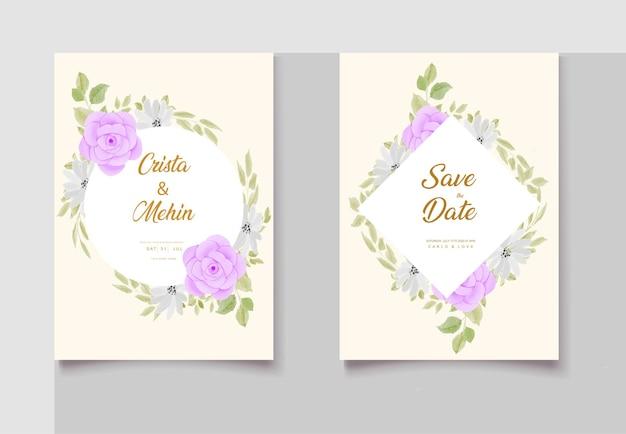 Beautiful hand drawing wedding invitation floral design