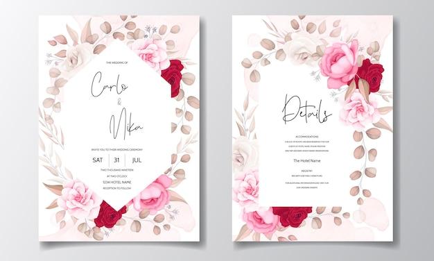 Beautiful hand drawing wedding invitation maroon floral design