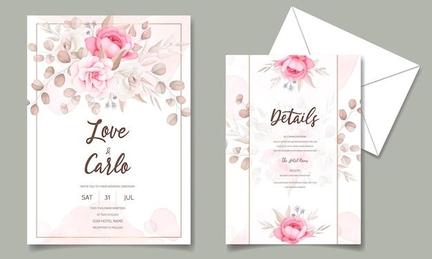 Красивая рука рисунок свадебное приглашение темно-бордовый цветочный дизайн