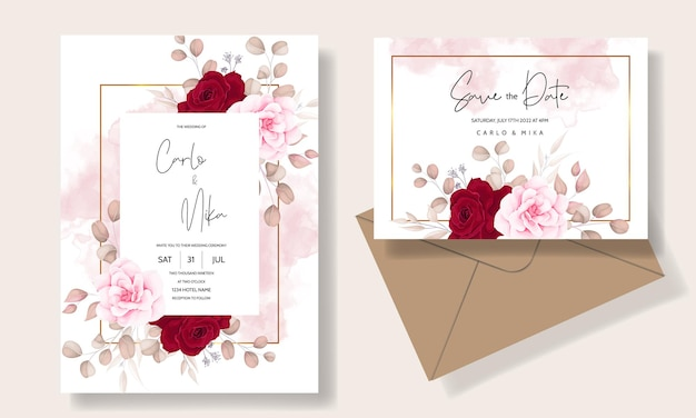 Beautiful hand drawing wedding invitation maroon floral design