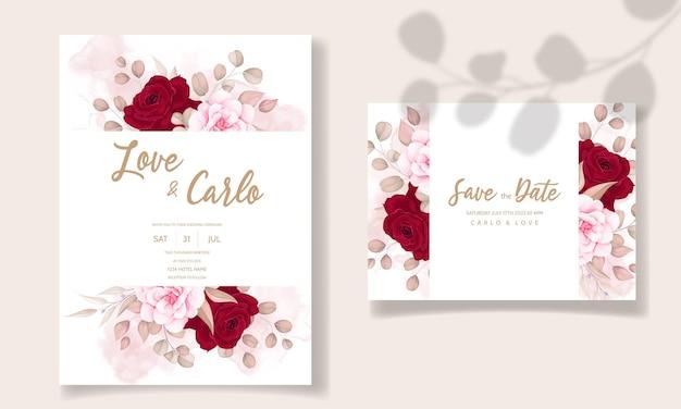 美しい手描きの結婚式の招待状栗色の花柄