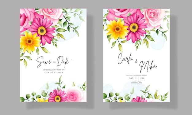 Beautiful hand drawing wedding invitation watercolor floral design