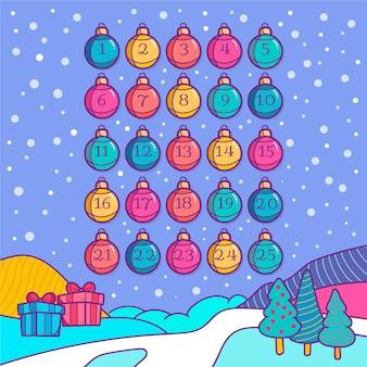 Beautiful hand drawn advent calendar