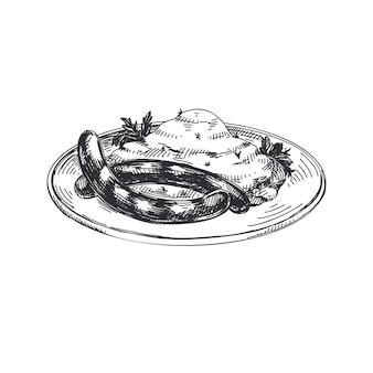 Beautiful  hand drawn austrian food illustration.