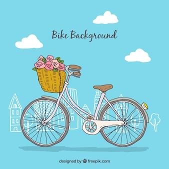 바구니와 함께 아름 다운 손으로 그린 자전거 배경