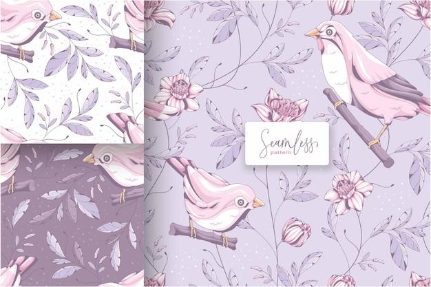 美しい手描きの鳥のパターン
