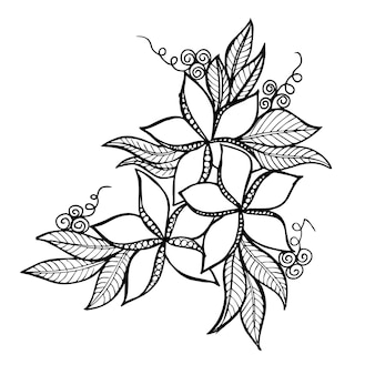 Beautiful hand drawn black and white floral element