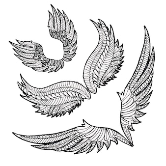 Beautiful hand drawn black and white wings collection