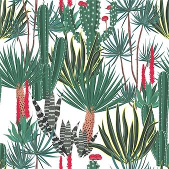Beautiful hand drawn blooming cactus, cacti, succulents pattern