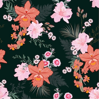 Beautiful hand drawn blooming tropical forest floral
