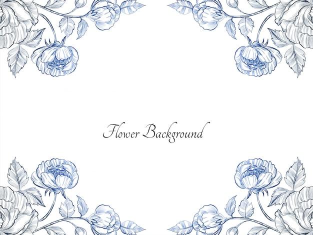 아름다운 손으로 그린 푸른 꽃 디자인