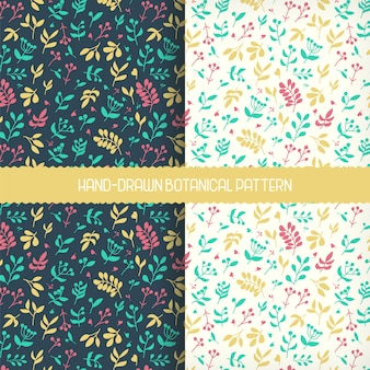 Beautiful hand-drawn botanical floral pattern