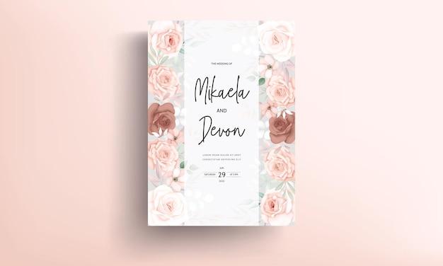 Красивый рисованный коричневый цветочный дизайн свадебного приглашения