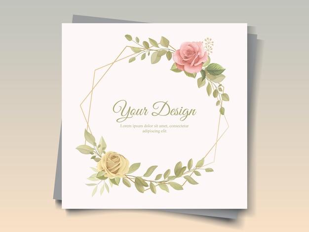 꽃 테마와 아름 다운 손으로 그린 카드