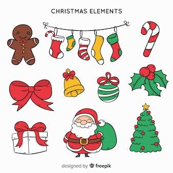 美しい手描きのクリスマスの要素コレクション